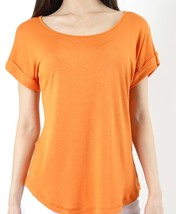 Orange Blouse with Folded Sleeves, Short Sleeve, Womens, Scoop Neck Top