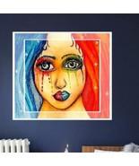 Rainbow of Glamour Girl Watercolor Art Original 5 x 7 - $14.95