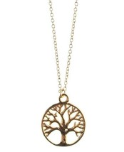 "New USA Made ECRU Metal Gold Tone Tree Pendant 16"" Necklace NWT"