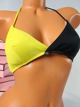 S VICTORIA`S SECRET VS Teeny Triangle Swim Top Bikini Black Yellow - $32.55