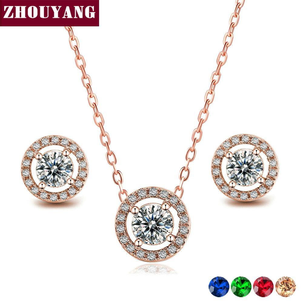 Primary image for ZHOUYANG Jewelry Sets For Women Micro Mosaic Cubic Zirconia Wedding Party Neckla