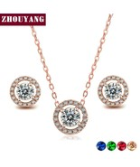 ZHOUYANG Jewelry Sets For Women Micro Mosaic Cubic Zirconia Wedding Part... - $18.94