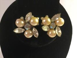 Judy Lee Vintage CLIP-ON Earrings, Crystal Rhinestones And Pearl Stones - $13.25
