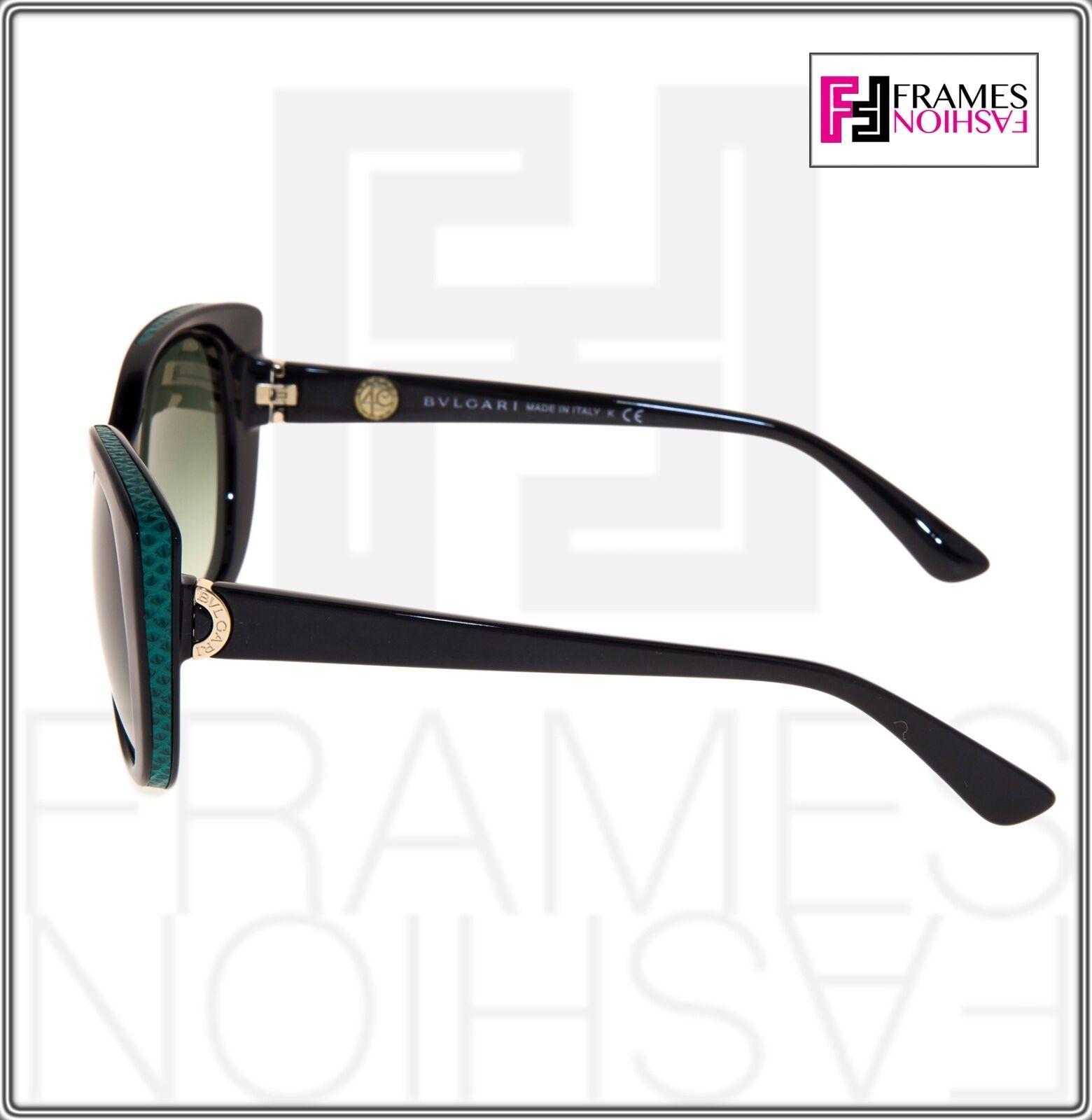 BVLGARI LOGO BV8169Q Black Green Leather Gradient Cat Eye Sunglasses Gold 8169 image 2