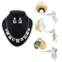 1 Enamel Necklace Set & 3 Earring Pair In Rhodium Finish Combo 410   - $51.00