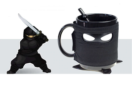 Ninja Mug Black Mask Ceramic Cup With Spoon Sword Milk Coffee Tea Cup Mugs - $20.89