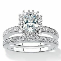 1.67 TCW Created White Sapphire and Diamond Platinum over Silver Ring Set - $174.99