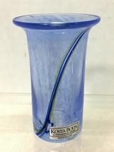 Kosta Boda Handmade Vessel Blue with Stripe Orig Tag T2 - $46.04
