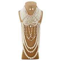 Multilayered Creamy Pearl Rhinestone Choker Tassel Gold Plated Necklace Set - $42.55