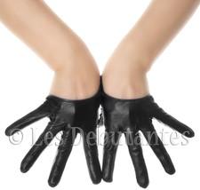 SEXY BLACK LEATHER SEMI PALM DESIGNER GLOVES LES DEBUTANTES - $14.99