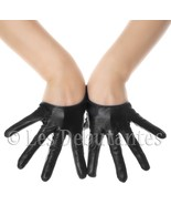 SEXY BLACK LEATHER SEMI PALM DESIGNER GLOVES LES DEBUTANTES - $14.99