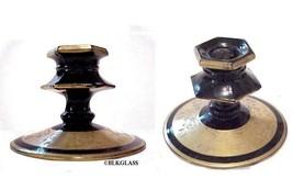 Jet Black Glass Candleholders Wide Gold Border Pair Ebony Candlesticks 1... - $29.99