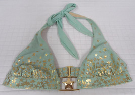 Victoria's SECRET Sea GREEN Gold METALLIC Stars Bikini SWIM SUIT Halter ... - $13.81
