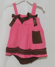 I Love Baby Hot Pink Brown Sun Dress Ruffle Bloomers Size 80cm 1 to 2 Year Old image 1