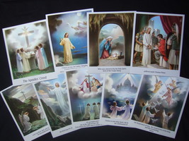 "Set of 9 Catholic APOSTLES CREED print PICTURES 8x10"" from Italy - $22.43"