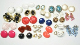 23 Pair LOT Vintage - Modern Clip-On Earrings Nice mix of Sizes, Colors ... - $29.09