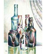 "BOTTLES.  - original drawing by Akimova, still life, food, 8""x6"" - $27.00"