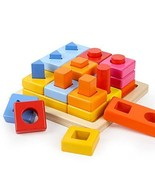 TOP BRIGHT Wooden Puzzle Toddler Toys, Shapes and Colors Sorter Stacking... - $18.09