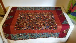 """Handcrafted Teddy Bear Quilt Christmas Patchwork Batted Throw 32x42"""" Nice - $14.84"""