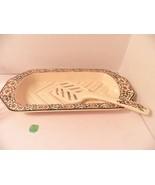 Vinatge Yellow  Porcelain Fish Platter & Lifter Mint Floral West German - $12.49
