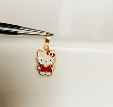 14K Yellow Gold Enamel Hello Kitty Baby Straight Body Pendant Red - $93.48