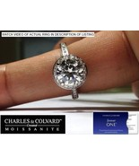 2.50 Carat Moissanite (8mm Forever One) & Diamond Halo Style Ring in 14K... - $2,500.00