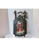 """HOLIDAY WOODEN SLEIGH 25"""" LONG HAND PAINTED SANTA MOTIF PERFECT FOR DISPLAY - $16.95"""