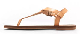 Universal Thread Womens Tan Faux Leather Lady Toe Thong Summer Sandals Vegan NEW image 2