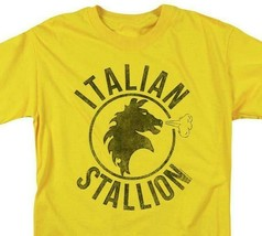 Rocky Italian Stallion T-shirt logo yellow 1980's retro movie cotton tee MGM209 image 2