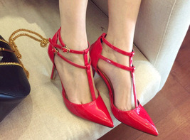 pp314 cutie T-type strappy pointy pump in candy color, US Size 4-8.5 red - $52.80