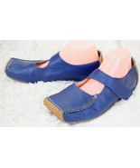 Bob Marley Mary Janes Comfort Flats Square Closed Toe Blue Leather Women... - $48.51