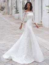 2 Pieces Long Sleeve Cape With Off The Shoulder A-Line Satin Princess Wedding Dr image 5