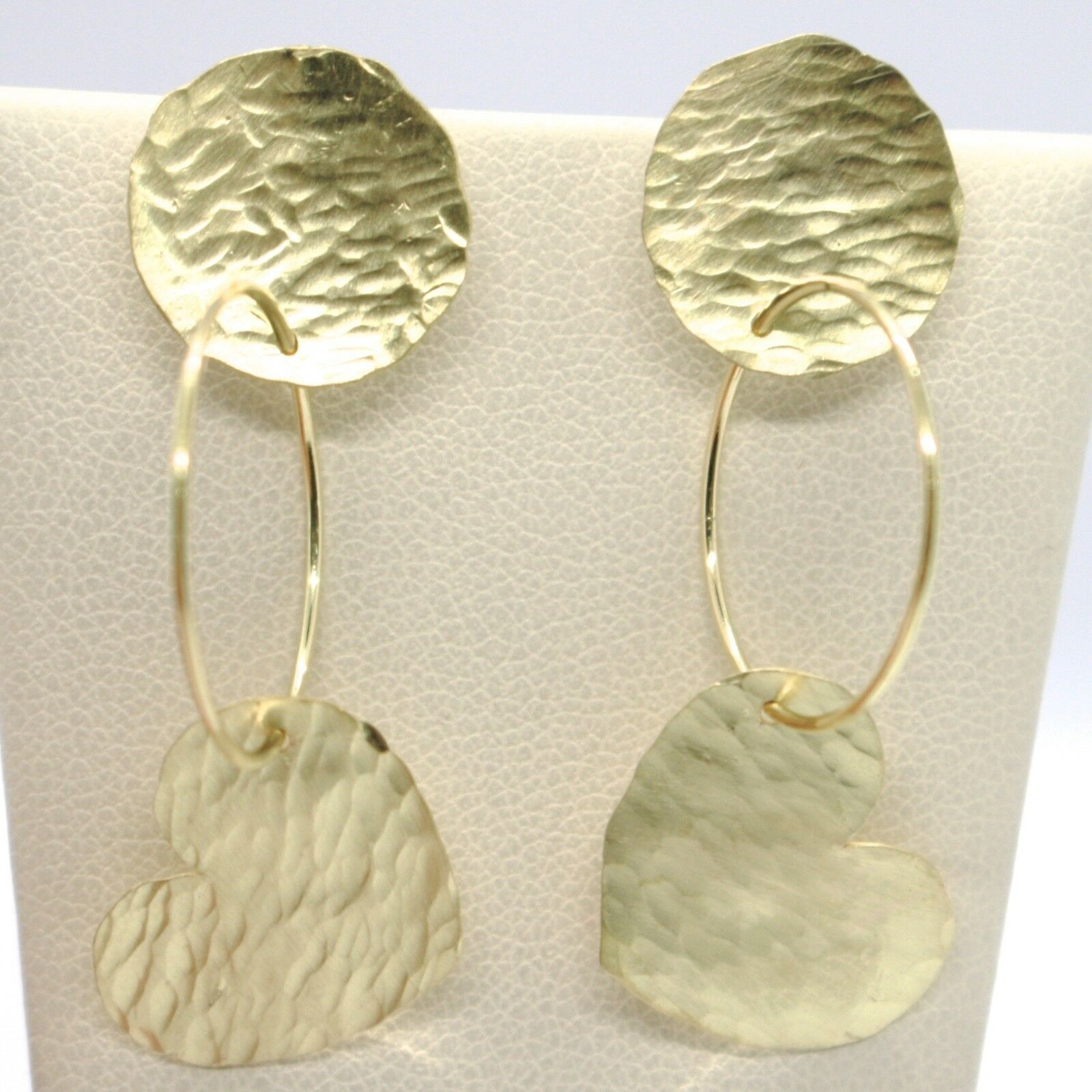 18K YELLOW GOLD FINELY WORKED AND HAMMERED PENDANT DISC CIRCLE HEART EARRINGS