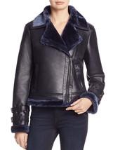 Faux Trimmed Fur Mock Collar Women's Genuine Soft Lamb Skin Leather bike... - $199.00