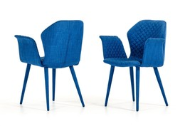 VIG Modrest Astoria Blue Fabric Fully Covered Dining Chair (Set of 2) - $490.00