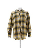 exclusive! Sheryl Crow Studded Collar Plaid Shirt Yellow S NEW 623-441 - $41.56