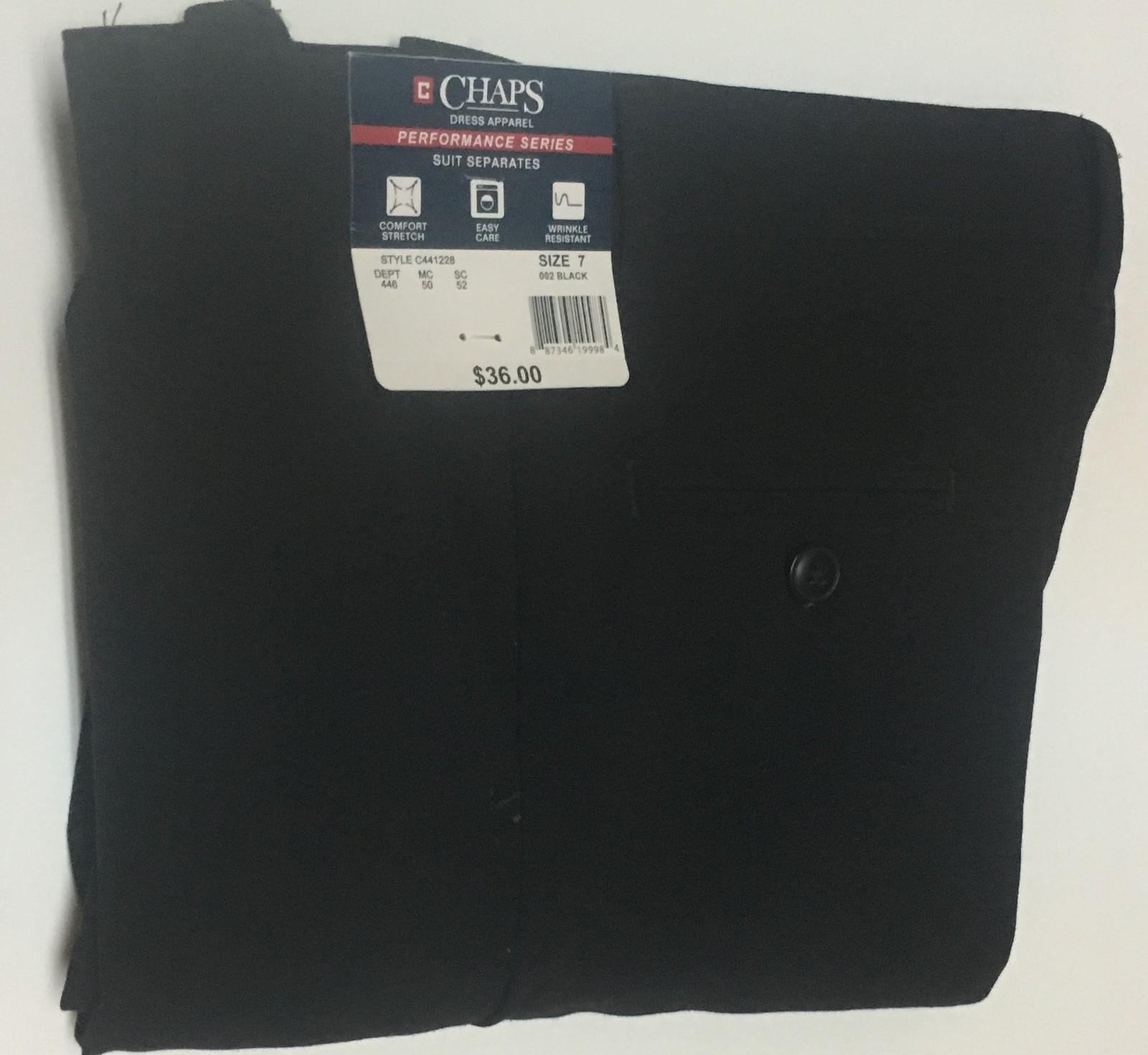 CHAPS Boy's Black Dress Pants SZ 7 NWT
