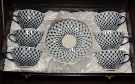 12 pc. NEW, Russian Lomonosov Design Cobalt Blue Net fine bone china tea... - $168.25