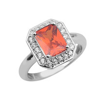 Emerald Cut Orange Color Gemstone Solitaire Stacking Ring Women Ring - $9.02