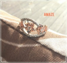 Rose Gold Plated White Topaz Floral 925 Silver Ring - $22.99
