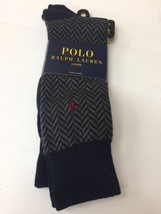 Ralph Lauren Polo Dress Socks Grey And Navy Blue Crew - $23.36