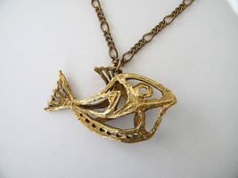 1970s Abstract Fish Necklace by Zavel Silber for Alva Museum Replicas - $42.00