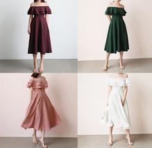 Women Blush Pink Off Shoulder Midi Dress Slit Chiffon Wedding Dress,blush pink image 8