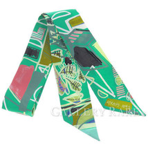 Hermes Scarf Twilly Modernisme Tropical Silk Twill France Authentic 3969359 - £158.15 GBP
