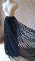 Black Polka Dot Tulle Skirt Black Long Tulle Skirts Outfit Black Maxi Skirt WT28 image 4