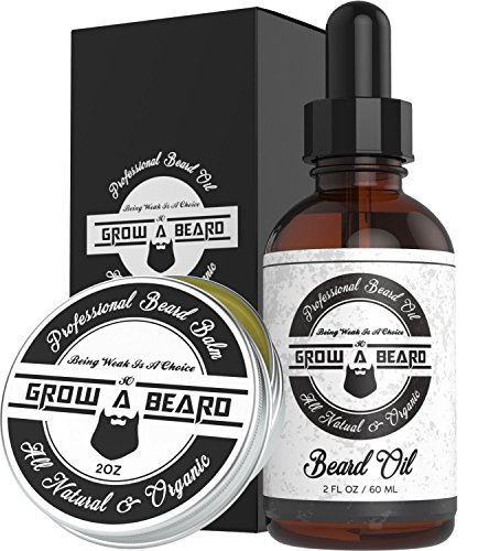 Beard & Mustache Balm and Oil Grooming Kit - All Natural And Organic Argan & Joj