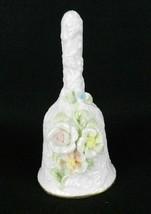 """Porcelain Bell ~ Shiah Yih ~ White Roses Glitter Gold Rim ~ 6"""" - $15.83"""