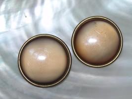 Vintage Large Flat Brown Moonglow Plastic Circle Clip Earrings – darkened  - $6.79