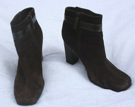 Via Spiga 8M Brown Suede Leather Square Toe Ankle Booties Boots Heel - $45.60