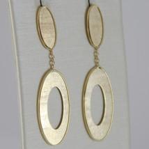 Yellow Gold Earrings 750 18k, Pendants, Double Oval striatum, Length 4 cm image 2